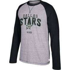 CCM Men's Dallas Stars Crew Heather Grey/Black Long Sleeve Shirt, Size: Medium, Team