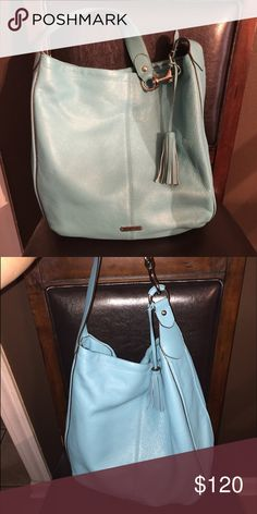 Authentic Coach large leather purse or bag Authentic Coach large teal leather purse or bag. Thick should strap with tassel. In great condition Coach Bags Shoulder Bags
