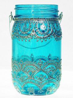 Linterna del tarro de masón marroquí inspirado Teal por LITdecor