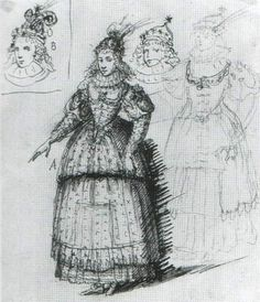1632 Costume design for Queen Henrietta Maria as divine beauty in the pasque pempe restored by Inigo Jones | Grand Ladies | gogm