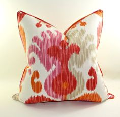 Ikat Pillow Cover, Cushion, Linen Pillow, Floral Pillow, Toss Pillow, Decorative Pillow Cover