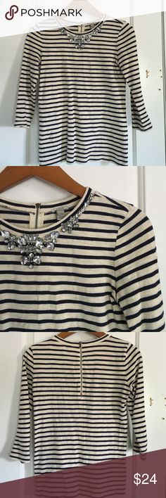 J. Crew Striped Jeweled Tee Great condition. A little yellowing in the interior part of the zipper. No jewels missing. J. Crew Tops Blouses