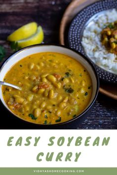 A rich and creamy soybeans curry with minimal spices made in Instant pot! Easy-peasy recipe with the healthy dried soybeans. Soybean Recipe Indian, Dried Soybean Recipe, Indian Beans Recipe, Indian Food Recipes, Beans Recipes, Veg Recipes, Curry Recipes, Side Dish Recipes, Recipes