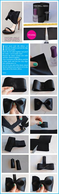 DIY: Fancy bows that you can wear with any heels! I might try and make a smaller bow.