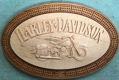 Harley Davidson knucklehead cribbage board cut on cherry wood and Maple. Made with removable top for peg and card storage. Custom Metal, Custom Art, Harley Davidson Knucklehead, Cribbage Board, Card Storage, Art Pieces, Cherry, Personalized Items, Wood