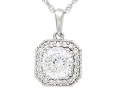 pretty! 2.7 ctw platinum plated sterling with chain