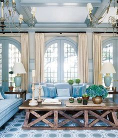"""I love this calming and beautiful room by Steven Gambrel. He used Benjamin Moore's """"Adagio"""" (1593). (image via Elle Decor)"""