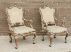 Century Italian Gold and Silver Leaf Armchairs from Naples, Italy Vintage Designs, Armchair, Carving, Mirror, Antiques, Wood, Furniture, Home Decor, Old Chairs