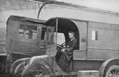 Marie Curie in one of her mobile X-ray labs.