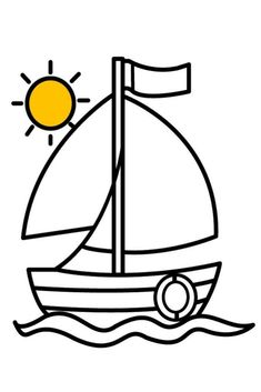 Learn Colors With Boat Paint. Boat Drawing And Coloring Pages for Kids. Boat Coloring for Kids. Boat for kids. Easy Boat for Kids, Children! Easy Coloring Pages, Coloring Pages To Print, Coloring Pages For Kids, Coloring Books, Boat Painting, Painting For Kids, Love Drawings, Easy Drawings, Kids Boat