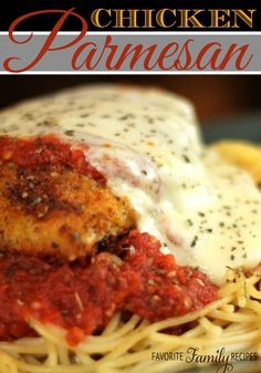 This Chicken Parmesan is the BEST, my husband begs me to make it all the time! #chickenparmesan #chickenparmesanrecipe