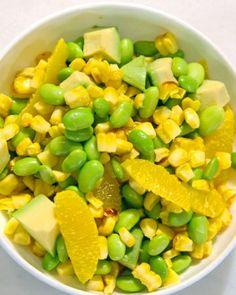 California Sunshine Salad-1/2 cup sweet corn, 1 medium orange, 1/4 medium chopped avocado, 1/2 cup chilled edamame, whisk 2 T rice vinegar, 1/4 t dried thyme, 1/4 t black pepper, 1/4 t grated lemon zest. Toss and serves 1.