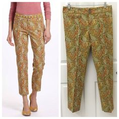 Anthropologie Persimmon Paisley Crops Pants Anthropologie Cartonnier Persimmon Paisley Crops Pants, Size 6, excellent like new condition, come from a smoke free home  Anthropologie Pants