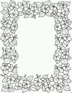 Flower Frame Colouring Page