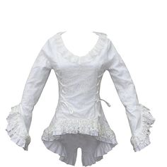 Women's Medieval Pirate White Cotton Lace Overlay Long Sleeve Blouse Top with Ruffle Neckline, Wide