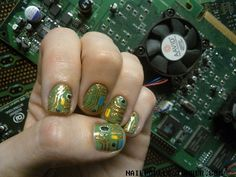 Circuit board nails :-) Appropriate for me. These are so much better than my first attempt at the same though!