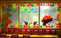 Great crafts to the best of children - - Classroom Window Decorations, Fall Door Decorations, School Decorations, Fall Decor, Autumn Crafts, Autumn Art, Autumn Theme, Autumn Activities, Art Activities