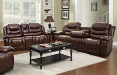 Ottawa 2 Piece Bonded Leather Reclining Living Room Sofa Set