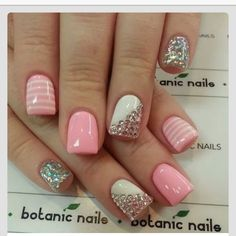 Nails, nail art, nail design, pink, white, sparkly