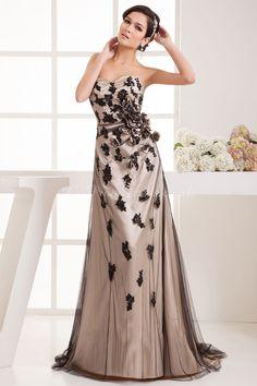 231aeecd76 A-line Elastic Silk Like Satin Tulle Sweetheart Natural Waist Sweep Brush  Train Low