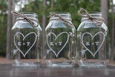 4 Quart Mason Jar,  Wedding Center Piece, Engraved, mason jars, 4 mason jars. $32.00, via Etsy.