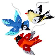 Cardinal Blue Jay and Goldfinch Ornaments Christmas Sewing Felt Ornaments Patterns, Bird Ornaments, Holiday Ornaments, Christmas Sewing, Felt Christmas, Christmas Time, Christmas Decor, Christmas Ideas, Texas Crafts