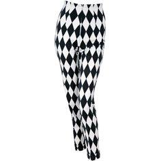 1990's Gianni Versace Harlequin Rare Black & White Skinny Jeans at... ❤ liked on Polyvore OOOOOOooooo!!!!!!!!!! fuuuunkky!