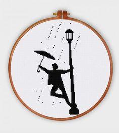 Singin' in the Rain silhouette cross stitch pattern pop culture movie design HX183