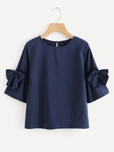 Shop Bow Tie Sleeve Keyhole Back Blouse online. SHEIN offers Bow Tie Sleeve Keyhole Back Blouse & more to fit your fashionable needs. Look Fashion, Fashion News, Girl Fashion, Fashion Dresses, Blouse Styles, Blouse Designs, Plain Tops, Mode Hijab, Summer Shirts