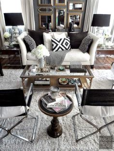 I love EVERYTHING about this room.... Classic Black and White Decor - Beneath My Heart