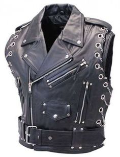 Heavy metal MC vest made of quality top grain leather. This leather motorcycle vest features thick mm buffalo with a removable wide belt and lots of chrome. A sleeveless jacket style motorcycle vest with chains and studs. Motorcycle Vest, Biker Vest, Vest Jacket, Leather Skin, Leather Vest, Cowhide Leather, Leather Jackets, Style Board, Sleeveless Jacket