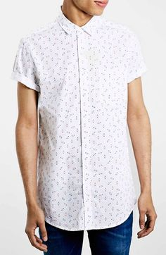 Men's Topman Slim Fit Short Sleeve Triangle Print Shirt