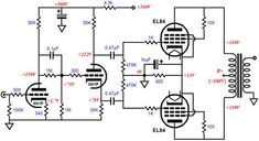 Valve Amplifier, Audio Amplifier, Dc Circuit, Circuit Diagram, Diy Electronics, Electronics Projects, Lost Technology, Diy Guitar Amp, Audio Box