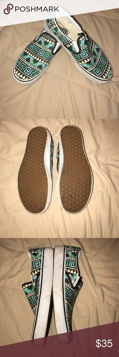 Tribal patterned vans Slip-on Vans. Blue, white, green, black and a little bit of red! Cute with any top! Worn 2 times! Needs a new home! Men's size: 6   Women's size: 7.5 Vans Shoes Sneakers