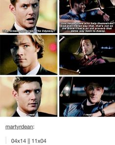 My thoughts are maybe Dean loved to read when he was younger and when his mom died, he had to quit to take care of Sammy. It's obviously a family thing, because all of the Winchesters, from what I can tell, are readers. And I think Dean's favorite books are Lord of the Rings since he quotes it so often.