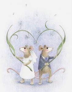 A sweet illustration, just married, by Kathy Hare