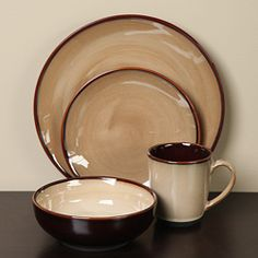 @Overstock - This handcrafted dinnerware set adds a rustic touch to your dinner table. The Nova Brown 16-piece banded dinnerware set from Sango provides service for four.http://www.overstock.com/Home-Garden/Sango-Nova-Brown-16-piece-Dinnerware-Set/3519620/product.html?CID=214117 $59.09
