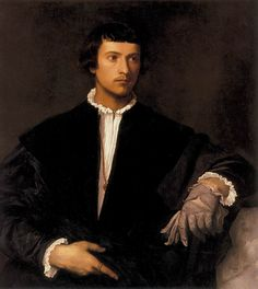 Young Man With a Glove by Titian, my favorite painting of all. I love that his shirt-front looks like a trumpet lily; his hands are so elegant.