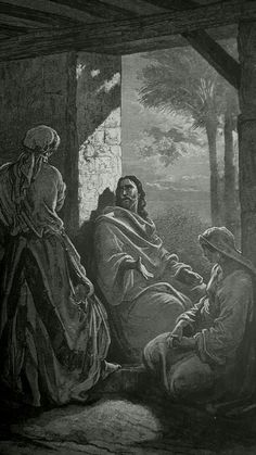 Phillip Medhurst presents detail 203/241 Gustave Doré Bible Jesus at the House of Martha and Mary Luke 10:41-42