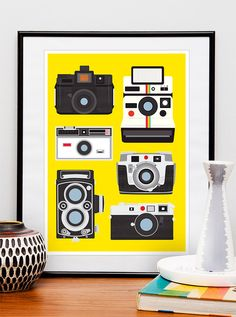 Geekery Camera poster, polaroid poster, nursery print, retro print, photography, yellow decor, nerd  - retro cameras 8x11 or A4. $17.00, via Etsy.