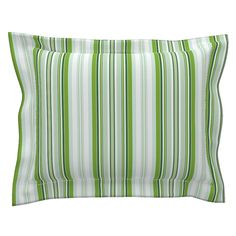 Sebright Pillow Sham with Flanged Detail featuring Beach Cabana Stripe 1 by fleamarkettrixie Pillow Shams, Pillows, Beach Cabana, Striped Bedding, Bed Design, Duvet Covers, Detail, Pattern, Color