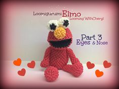 Rainbow Loom EYES for ELMO (Part 3 of Loomigurumi Amigurumi Hook Only Лумигуруми. Tutorial Brought to you By Looming With Cheryl. Rainbow Loom Tutorials, Rainbow Loom Patterns, Rainbow Loom Creations, Rubber Band Crafts, Rubber Bands, Rainbow Loom Animals, Rainbow Band, Loom Craft, Rainbow Loom Charms
