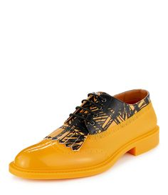 Vivienne Westwood Yellow/black Scribble Lace Up Brogue Mens Smart Casual Shoes, Trendy Shoes, Funky Shoes, Cute Shoes, Mens Fashion Shoes, Men S Shoes, Vivienne Westwood Man, Leather Slippers, Chanel Shoes