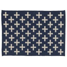 Shop Indoor + Outdoor Rug (Blue).  What are the pluses and minuses of this rug? Well, it features a bold, design, so that's a plus.  It can also be used anywhere from the playroom to the patio, so that's a bigger plus.