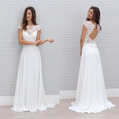 Simple A Line Beach Wedding Dresses 2016 Sheer Lace Appliques Scoop Open Back Capped Sleeves Floor Length Chiffon Bridal Wedding Gowns Cheap
