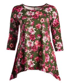 Look what I found on #zulily! Green & Red Floral Sidetail Tunic - Plus #zulilyfinds