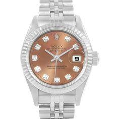 15571 Rolex Datejust Salmon Diamond Dial Steel Ladies Watch 79174 SwissWatchExpo