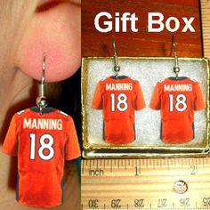 Peyton Manning #18 Denver Broncos Orange Football Jersey Earrings. Awesome!