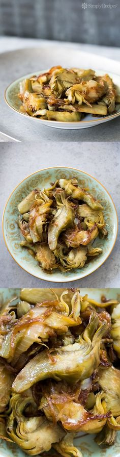 Sweet and Sour Glazed Artichokes with Caramelized Onions ~ Artichoke hearts, sliced and slowly cooked with onions with sweetened vinegar until both are beautifully caramelized. ~ SimplyRecipes.com