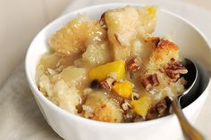 Mmm. I don't usually like bread pudding, but this recipe for Marvin's Peach Bread Pudding combines the best of cobbler, bread and pecans. Delicious served warm.